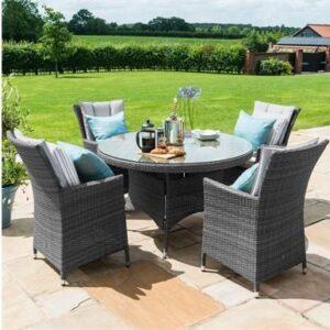 4 Seat Round Garden Dining Set - Brolly & Base - Lazy Suzy - Grey Polyweave