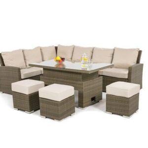 Garden Corner Sofa Dining Set - Rising Dining Table - Natural Flat Weave