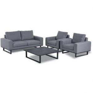 Sofa & Chair Set - Coffee Table - All Weather Garden Fabric - GREY