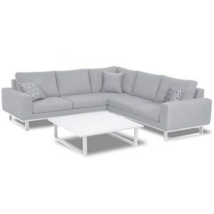 All Weather Garden Fabric Corner Sofa Group - Coffee Table - Small - Lead Chine