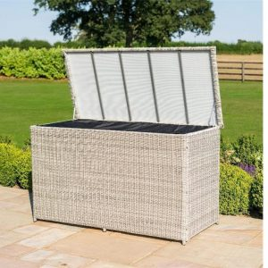 Garden Storage Box - Large Waterproof Lined - Grey Poly Rattan