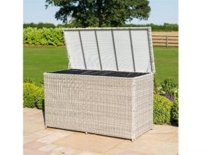 Garden Storage Box - Large Waterproof Lined - Grey Poly Rattan