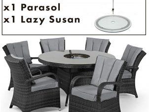 6 Seat Round Dining Set - Central Ice Bucket - Umbrella - Grey Polyweave