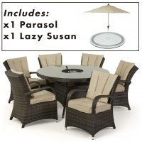 6 Seat Round Dining Set - Central Ice Bucket - Umbrella - Brown Polyweave