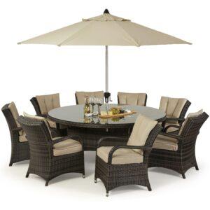 8 Seat Round Dining Set - Umbrella & Base - Brown Polyweave