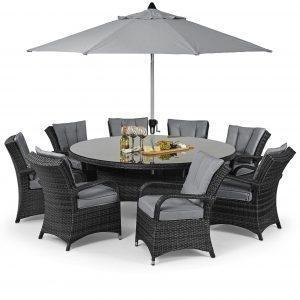 8 Seat Round Dining Set - Umbrella & Base - Grey Polyweave