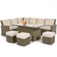 Garden Corner Sofa Dining Set - Rising Dining Table - Natural Flat Weave