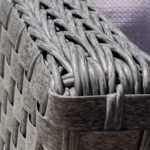 Corner Sofa Garden Dining Set - Rising Dining Table - Grey Round Flat Weave