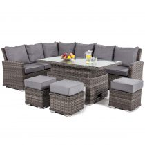 Garden Corner Sofa Dining Set - Rising Dining Table - Grey Round & Flat Weave