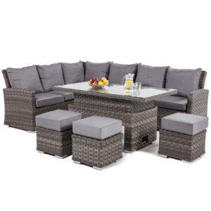 Garden Corner Sofa Dining Set - Rising Dining Table - Grey Round & Flat Weave