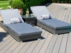Double Sun Lounger & Side Table Set - Grey Polyweave Rattan