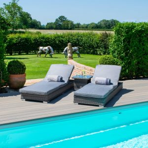 Double Sun Lounger & Side Table Set - Grey Polyweave Rattan