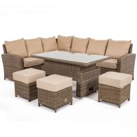 Garden Corner Sofa Dining Set - Rising Dining Table - Light Brown Round Weave