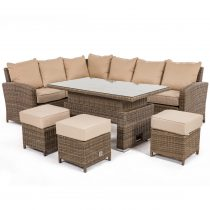 Garden Corner Sofa Dining Set - Rising Dining Table - Light Brown Round Weave