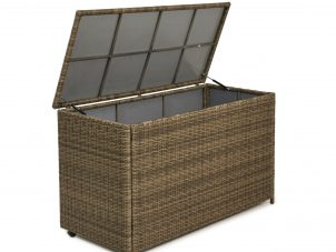 Garden Storage Box - Large Storage Box - Light Brown Poly Rattan