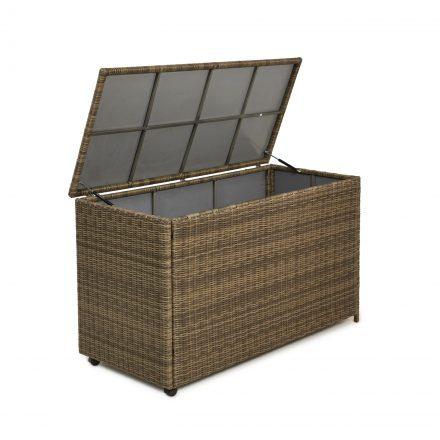 Garden Storage Box - Large Storage Box - Light Brown Poly Rattan
