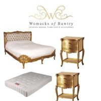 FFrench Gilt Set - Silk Upholstered Super King-Size Bed - 2 Bedsides - Mattress