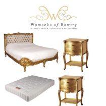 FFrench Gilt Set - Silk Upholstered Super King-Size Bed - 2 Bedsides - Mattress