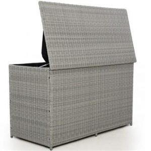Garden Storage Box - Large - Waterproof Lined - Light Grey Flat Weave