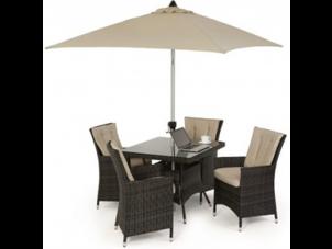 4 Seat Square Garden Dining Set - Umbrella & Base - Brown Polyweave