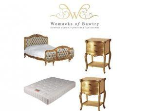 5ft King-Size Bed - Silk Upholstered - 2 Bedsides - Mattress - French Gilt Set