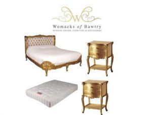 6ft Super King-Size Bed - Silk Upholstered - 2 Bedsides - Mattress - French Gilt Set