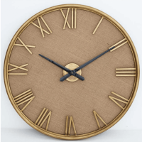 Wall Clock - Gold Metal Finish - Roman Numerals - Linen Background