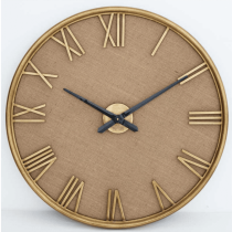 Large Round Wall Clock - Distressed Gold Metal - Roman Numerals - Linen Background