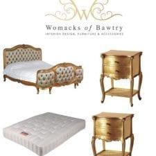 French Gilt Set - Silk Upholstered Super King-Size Bed - 2 Bedsides - Mattress