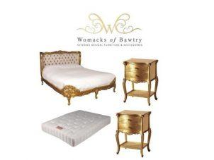 5ft French Gilt Bed Set - King-Size Bed - Silk Upholstered - 2 Gilt Bedsides - Mattress