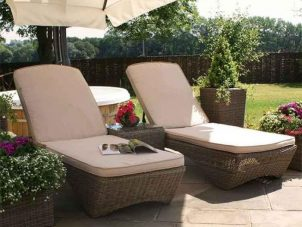 Double Sun Lounger & Side Table Set - Natural Polyweave