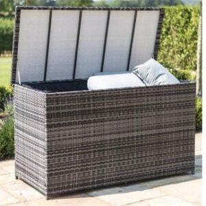 Garden Storage Box - Large Storage Box - Fully Lined - Mixed Grey Flat Weave