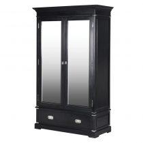 Wardrobe - Double Mirrored Doors - 2 Drawers - Dorchester Black Range