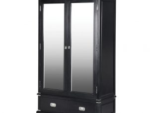 Wardrobe - Double Mirrored Doors - 2 Drawers - Dorchester Black Range