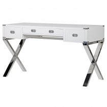 Dressing Table/Desk - Chrome & Black - 3 Drawer - Dorchester White Range