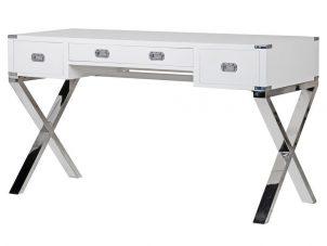 Dressing Table/Desk - Chrome & Black - 3 Drawer - Dorchester White Range