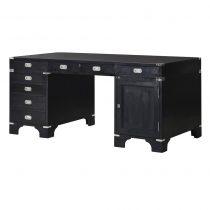 Writing Desk - Black & Chrome - 7 Drawers & 1 Cupboard - Dorchester Black Range