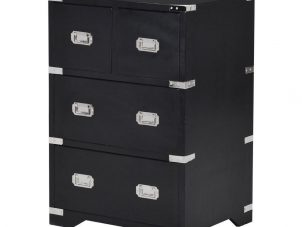 Bedside Cabinet - Black & Chrome Edged - 4 Drawers - Dorchester Black Range