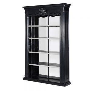 Mirrored Wall Unit - 4 Shelves & Mirror Back - Dorchester Black Range