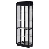 Display Cabinet - Glass & Chrome - 4 Shelves - Dorchester Black Range