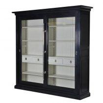 Wall Unit - Chrome Edged & 4 Drawers - Dorchester Black Range