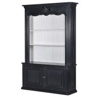 Wall Dresser Unit - 4 Shelves & Cupboard - Open Design - Dorchester Black Range
