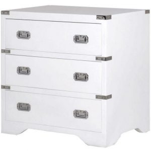 Chest Of Drawers - Chrome Edged & 3 Drawers - Dorchester White Range