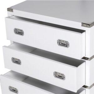 Chest Of Drawers - Chrome Edged & 3 Drawers - Dorchester White Range