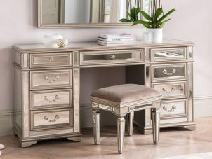 Dressing Table Stool & Mirror Set - Mirrored & Taupe Finish - LA Mirrored Range