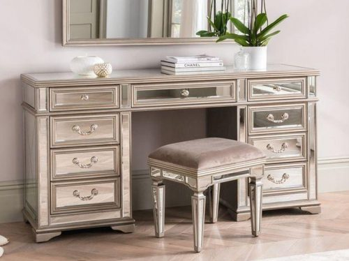 Dressing Table Stool & Mirror Set - Mirrored & Taupe Finish - LA Mirrored Range