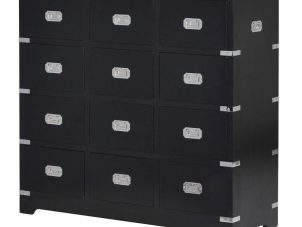 Chest Of Drawers - Black & Chrome Edged - 12 Small Drawers - Dorchester Black Range