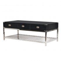 Coffee Table - Black & Chrome Edged - 3 Drawers - Dorchester Black Range