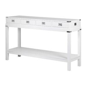 Console Table - White & Chrome Edge - Shelf - Dorchester White Range