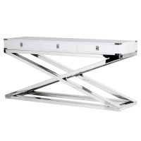 Console Table - Black & Chrome - 3 Drawers - Dorchester White Range